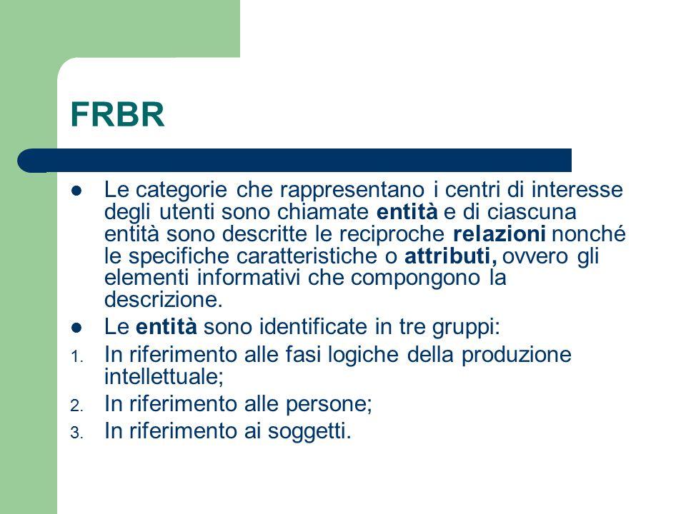 FRBR Le categorie che rappresentano i centri di interesse degli utenti sono chiamate entità e di ciascuna entità sono descritte le reciproche relazion