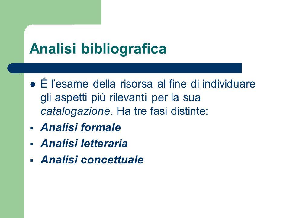 Analisi bibliografica É l'esame della risorsa al fine di individuare gli aspetti più rilevanti per la sua catalogazione. Ha tre fasi distinte:  Anali