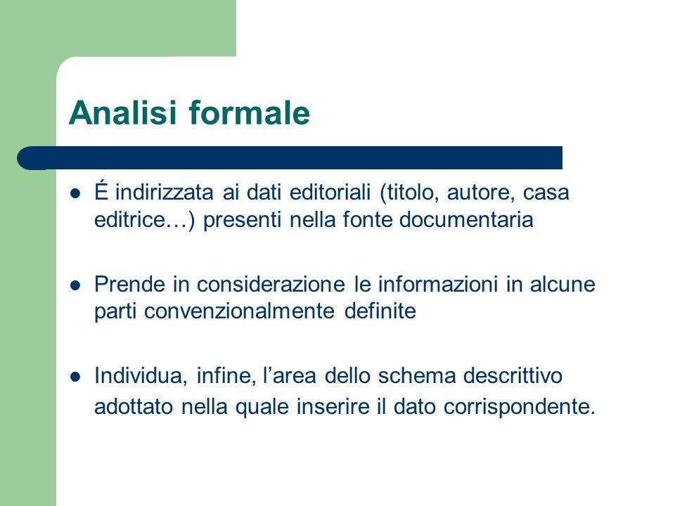 Analisi formale É indirizzata ai dati editoriali (titolo, autore, casa editrice…) presenti nella fonte documentaria Prende in considerazione le inform