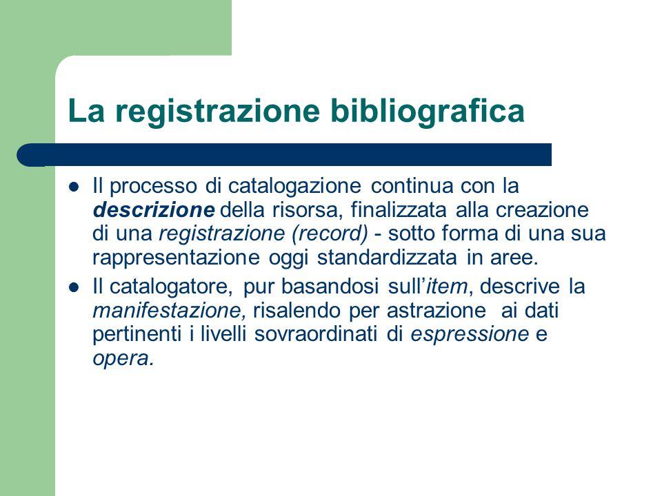 La registrazione bibliografica Il processo di catalogazione continua con la descrizione della risorsa, finalizzata alla creazione di una registrazione