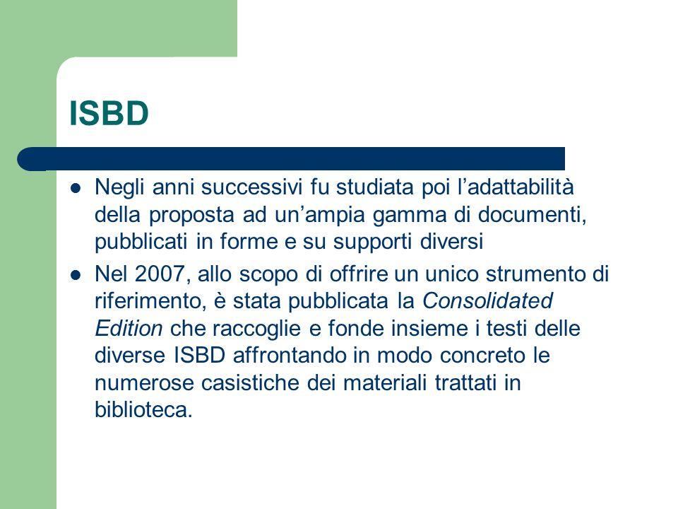 ISBD Negli anni successivi fu studiata poi l'adattabilità della proposta ad un'ampia gamma di documenti, pubblicati in forme e su supporti diversi Nel