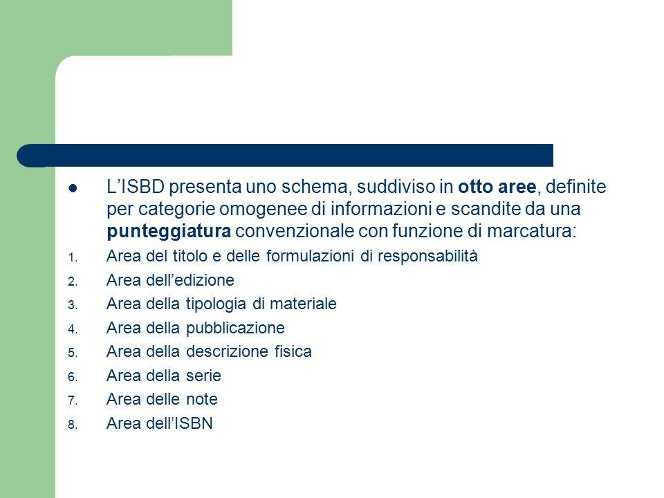 L'ISBD presenta uno schema, suddiviso in otto aree, definite per categorie omogenee di informazioni e scandite da una punteggiatura convenzionale con