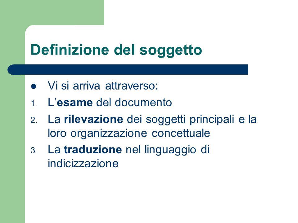 Definizione del soggetto Vi si arriva attraverso: 1. L'esame del documento 2. La rilevazione dei soggetti principali e la loro organizzazione concettu