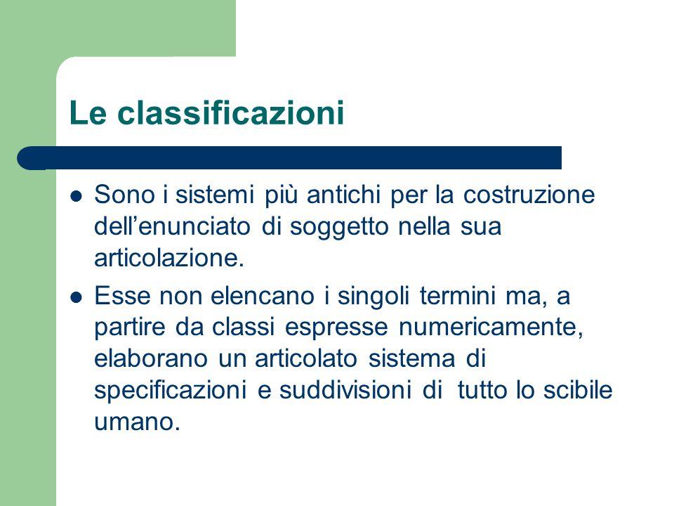 Le classificazioni Sono i sistemi più antichi per la costruzione dell'enunciato di soggetto nella sua articolazione. Esse non elencano i singoli termi