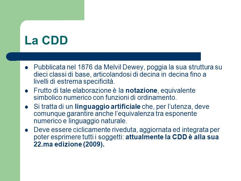 La CDD Pubblicata nel 1876 da Melvil Dewey, poggia la sua struttura su dieci classi di base, articolandosi di decina in decina fino a livelli di estre
