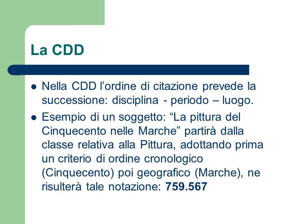 """La CDD Nella CDD l'ordine di citazione prevede la successione: disciplina - periodo – luogo. Esempio di un soggetto: """"La pittura del Cinquecento nelle"""