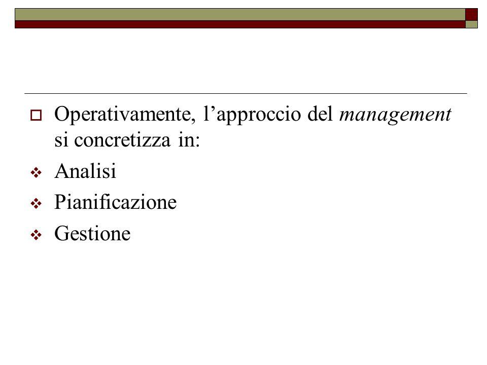  Operativamente, l'approccio del management si concretizza in:  Analisi  Pianificazione  Gestione