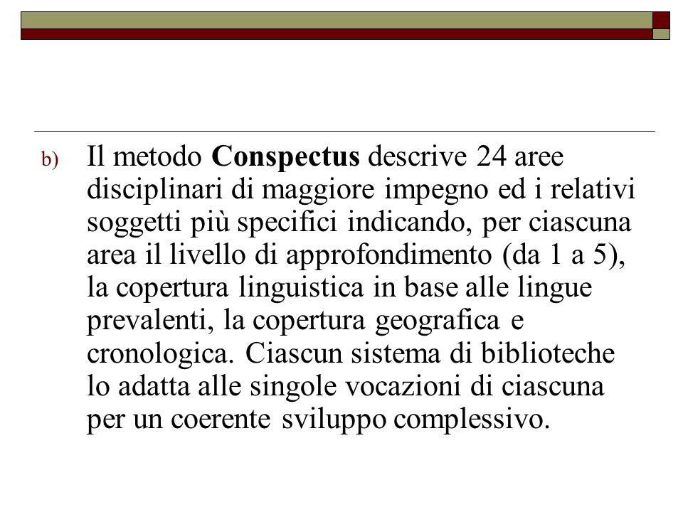 b) Il metodo Conspectus descrive 24 aree disciplinari di maggiore impegno ed i relativi soggetti più specifici indicando, per ciascuna area il livello
