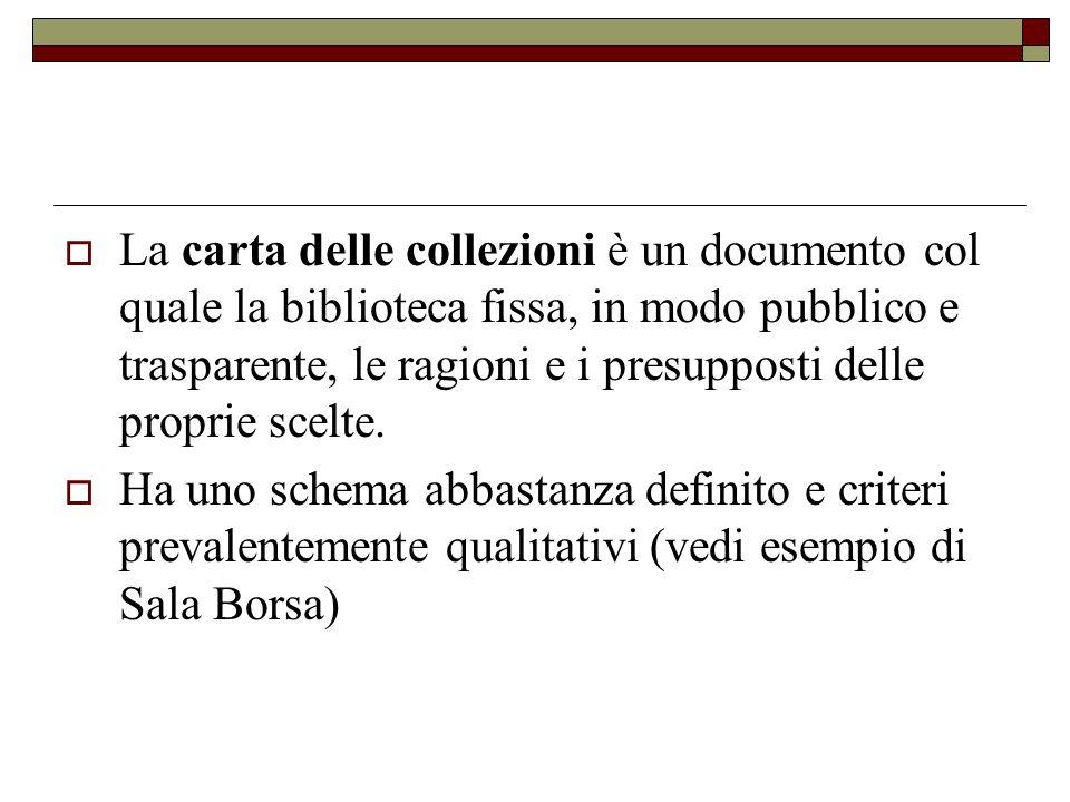  La carta delle collezioni è un documento col quale la biblioteca fissa, in modo pubblico e trasparente, le ragioni e i presupposti delle proprie sce