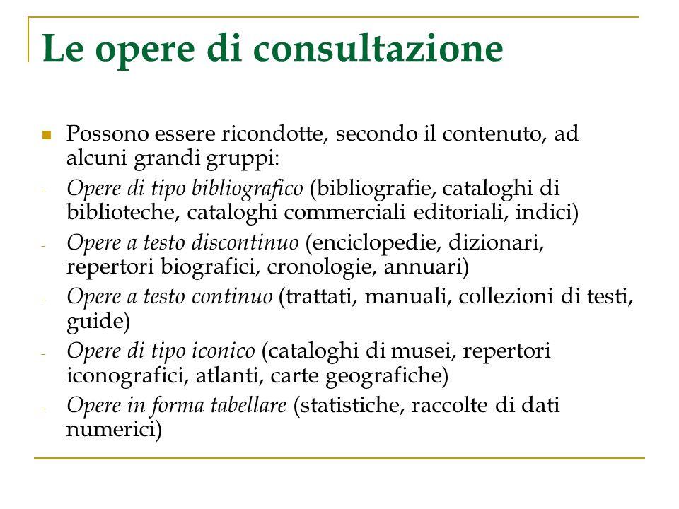 Le opere di consultazione Possono essere ricondotte, secondo il contenuto, ad alcuni grandi gruppi: - Opere di tipo bibliografico (bibliografie, catal