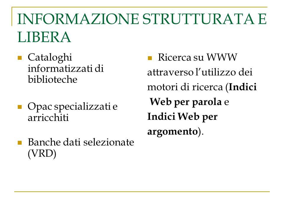 INFORMAZIONE STRUTTURATA E LIBERA Cataloghi informatizzati di biblioteche Opac specializzati e arricchiti Banche dati selezionate (VRD) Ricerca su WWW