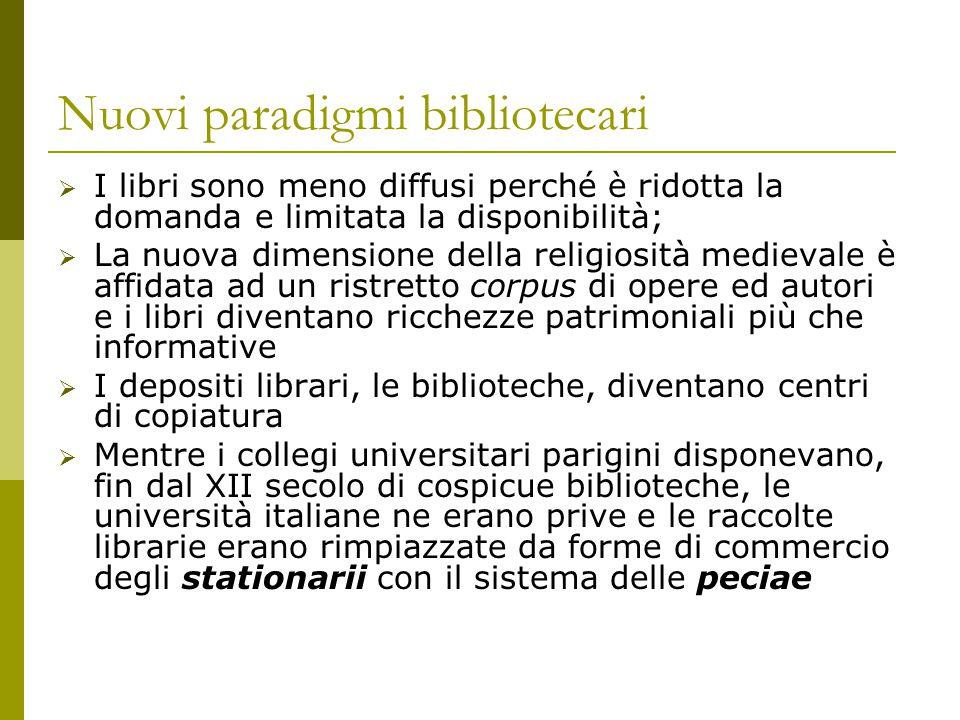 Nuovi paradigmi bibliotecari  I libri sono meno diffusi perché è ridotta la domanda e limitata la disponibilità;  La nuova dimensione della religios