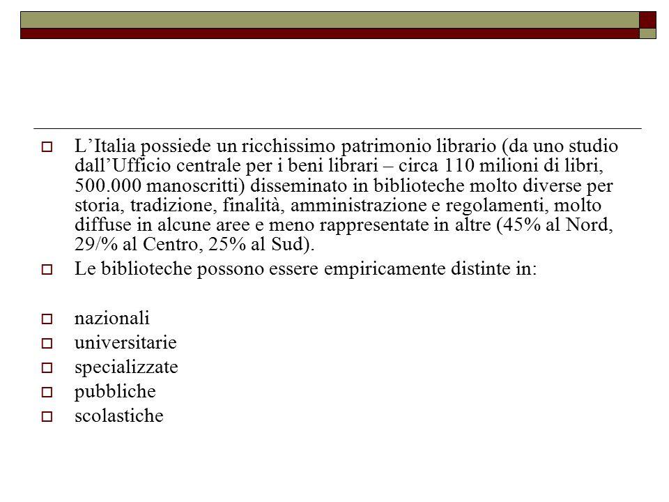  L'Italia possiede un ricchissimo patrimonio librario (da uno studio dall'Ufficio centrale per i beni librari – circa 110 milioni di libri, 500.000 m