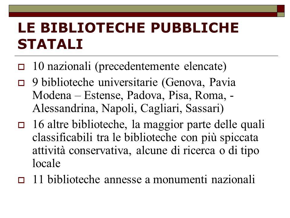 LE BIBLIOTECHE PUBBLICHE STATALI  10 nazionali (precedentemente elencate)  9 biblioteche universitarie (Genova, Pavia Modena – Estense, Padova, Pisa