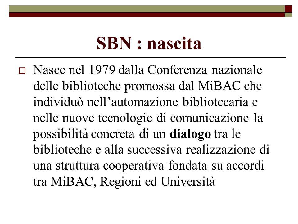SBN : nascita  Nasce nel 1979 dalla Conferenza nazionale delle biblioteche promossa dal MiBAC che individuò nell'automazione bibliotecaria e nelle nu