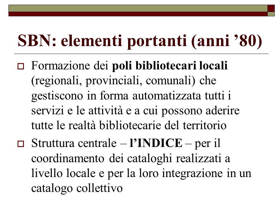 SBN: elementi portanti (anni '80)  Formazione dei poli bibliotecari locali (regionali, provinciali, comunali) che gestiscono in forma automatizzata t