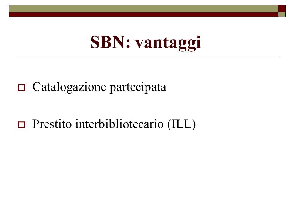 SBN: vantaggi  Catalogazione partecipata  Prestito interbibliotecario (ILL)
