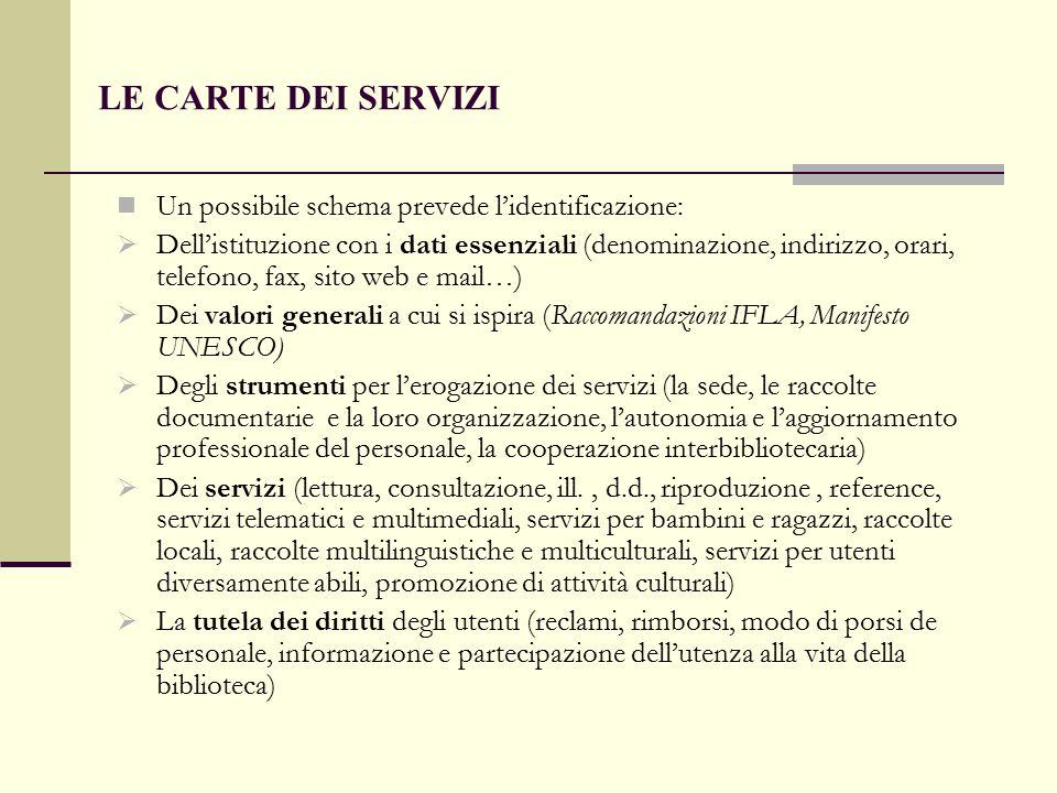LE CARTE DEI SERVIZI Un possibile schema prevede l'identificazione:  Dell'istituzione con i dati essenziali (denominazione, indirizzo, orari, telefon