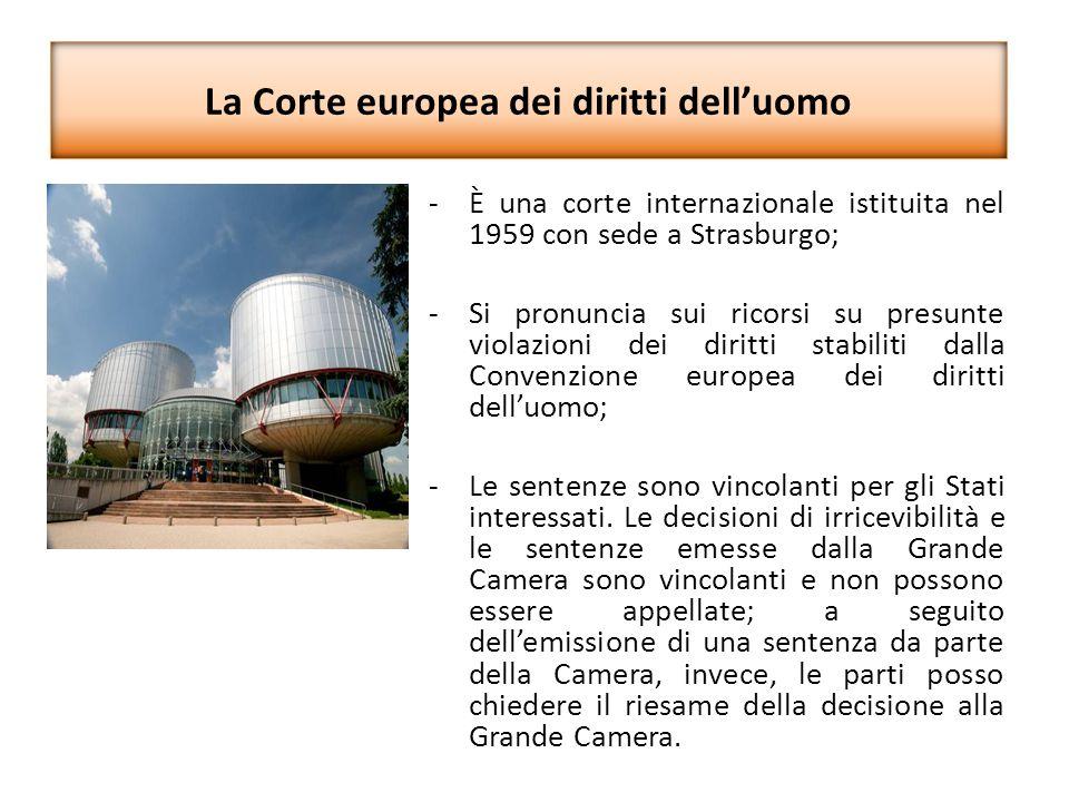 La Corte europea dei diritti dell'uomo -È una corte internazionale istituita nel 1959 con sede a Strasburgo; -Si pronuncia sui ricorsi su presunte vio