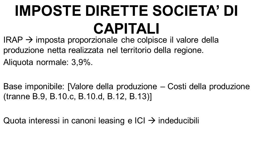 IMPOSTE DIRETTE SOCIETA' DI CAPITALI IRAP  imposta proporzionale che colpisce il valore della produzione netta realizzata nel territorio della regione.