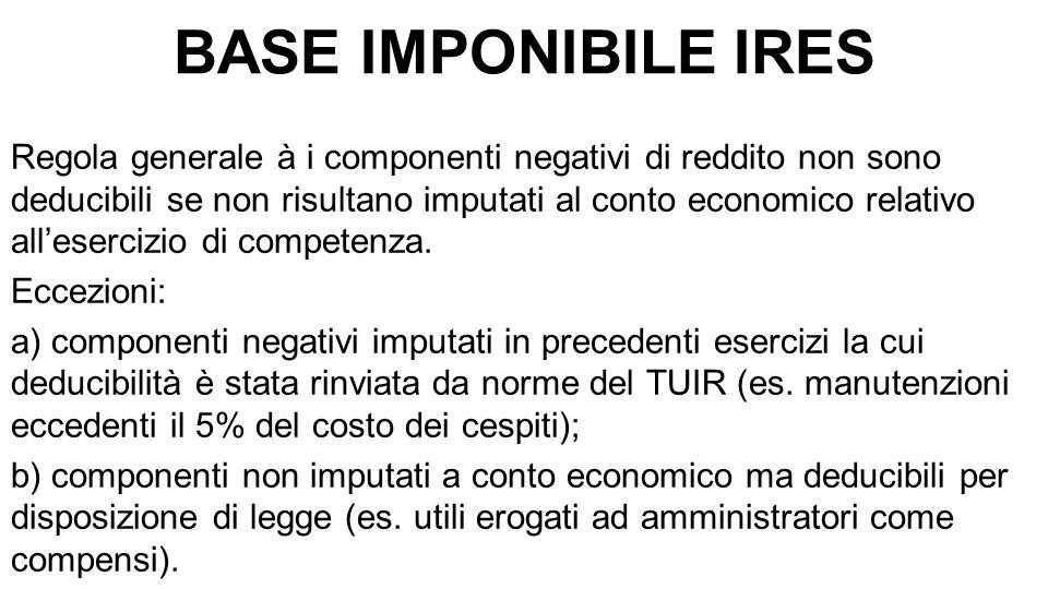 BASE IMPONIBILE IRES Regola generale à i componenti negativi di reddito non sono deducibili se non risultano imputati al conto economico relativo all'esercizio di competenza.