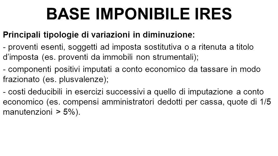 BASE IMPONIBILE IRES Principali tipologie di variazioni in diminuzione: - proventi esenti, soggetti ad imposta sostitutiva o a ritenuta a titolo d'imposta (es.