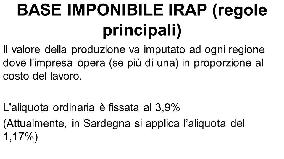 BASE IMPONIBILE IRAP (regole principali) Il valore della produzione va imputato ad ogni regione dove l'impresa opera (se più di una) in proporzione al costo del lavoro.