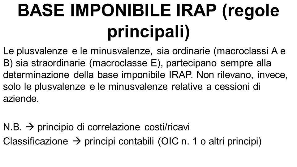 BASE IMPONIBILE IRAP (regole principali) Le plusvalenze e le minusvalenze, sia ordinarie (macroclassi A e B) sia straordinarie (macroclasse E), partecipano sempre alla determinazione della base imponibile IRAP.