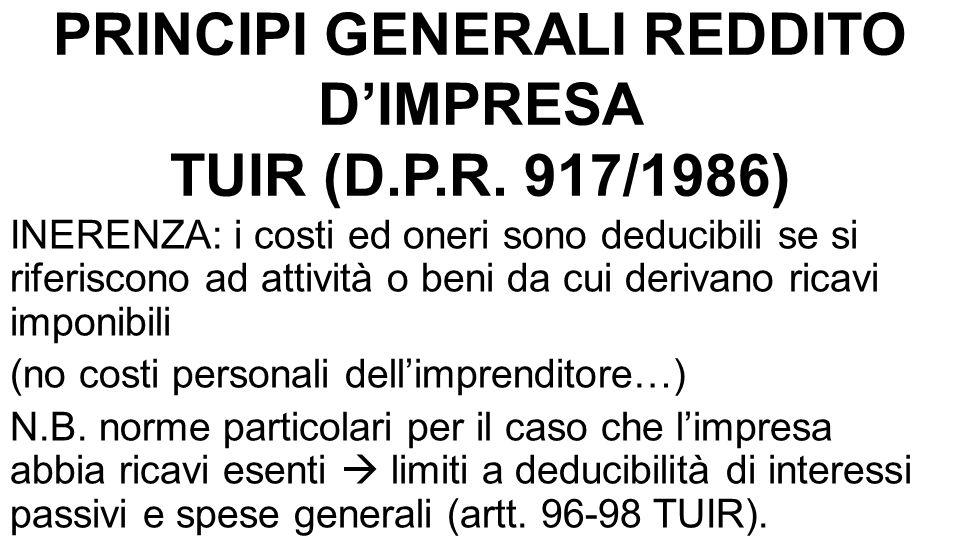 PRINCIPI GENERALI REDDITO D'IMPRESA TUIR (D.P.R.