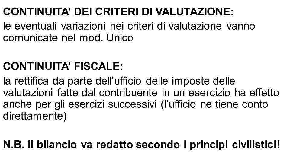CONTINUITA' DEI CRITERI DI VALUTAZIONE: le eventuali variazioni nei criteri di valutazione vanno comunicate nel mod.