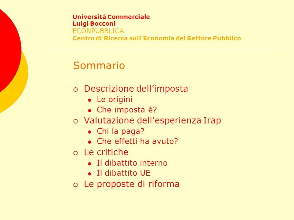 Le origini Università Commerciale Luigi Bocconi ECONPUBBLICA Centro di Ricerca sull'Economia del Settore Pubblico