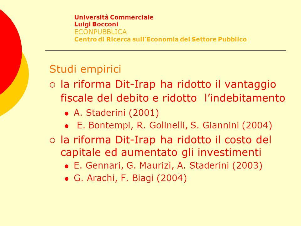 Studi empirici  la riforma Dit-Irap ha ridotto il vantaggio fiscale del debito e ridotto l'indebitamento A.
