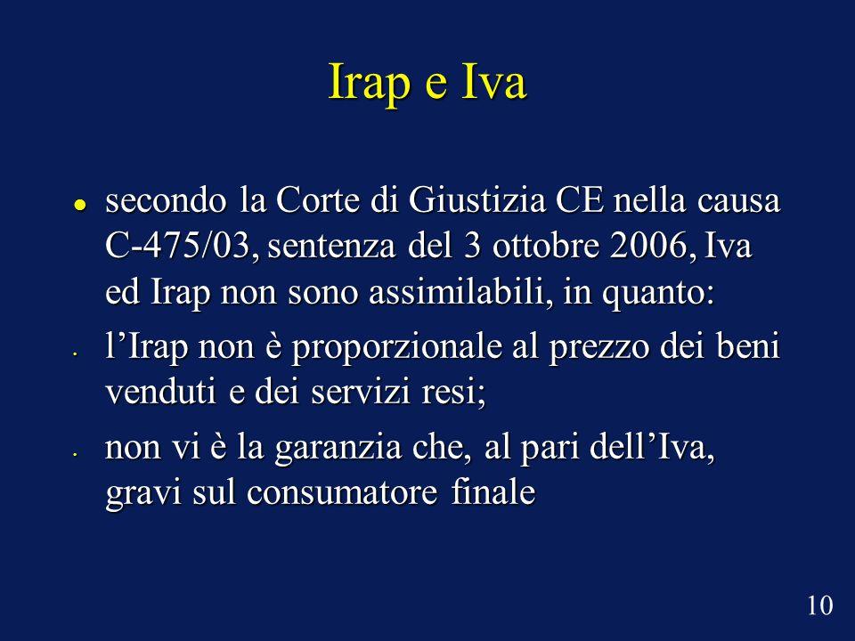 Irap e Iva secondo la Corte di Giustizia CE nella causa C-475/03, sentenza del 3 ottobre 2006, Iva ed Irap non sono assimilabili, in quanto: secondo la Corte di Giustizia CE nella causa C-475/03, sentenza del 3 ottobre 2006, Iva ed Irap non sono assimilabili, in quanto: l'Irap non è proporzionale al prezzo dei beni venduti e dei servizi resi; l'Irap non è proporzionale al prezzo dei beni venduti e dei servizi resi; non vi è la garanzia che, al pari dell'Iva, gravi sul consumatore finale non vi è la garanzia che, al pari dell'Iva, gravi sul consumatore finale 10