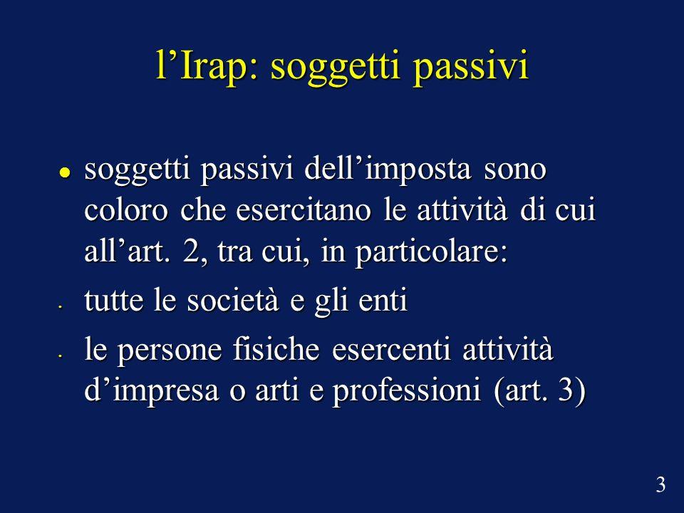 l'Irap: soggetti passivi soggetti passivi dell'imposta sono coloro che esercitano le attività di cui all'art.