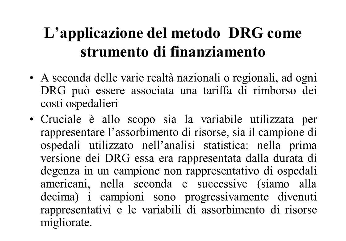 I passi del DRG Grouper Assegnazione, in base alla diagnosi principale ad una MDC (Categoria Diagnostica Principale) Attribuzione in base alla presenz