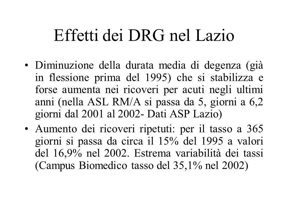 Una prima valutazione dei risultati dei DRG in Italia 2 Indicatori di efficienza grezzi, come la durata media di degenza (che diminuisce, in modo diff
