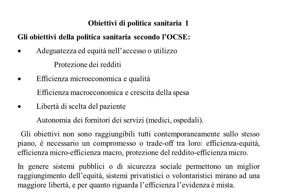 Obiettivi di politica sanitaria 2 Obiettivi OMS: Salute: livello generale e distribuzione Corretto finanziamento Rispondenza alle esigenze degli indiv