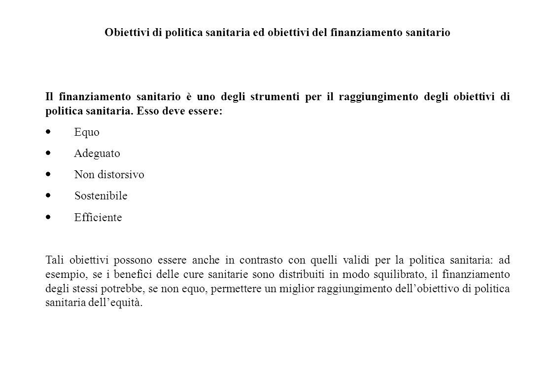 Obiettivi di politica sanitaria 1 Gli obiettivi della politica sanitaria secondo l'OCSE:  Adeguatezza ed equità nell'accesso o utilizzo Protezione de