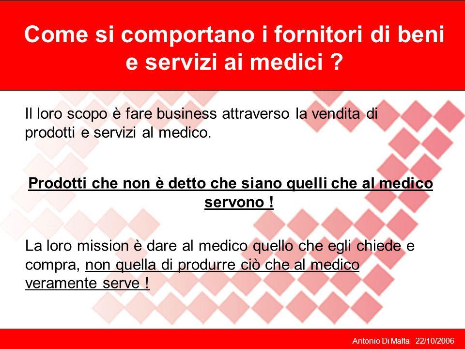Antonio Di Malta 22/10/2006 Il loro scopo è fare business attraverso la vendita di prodotti e servizi al medico.