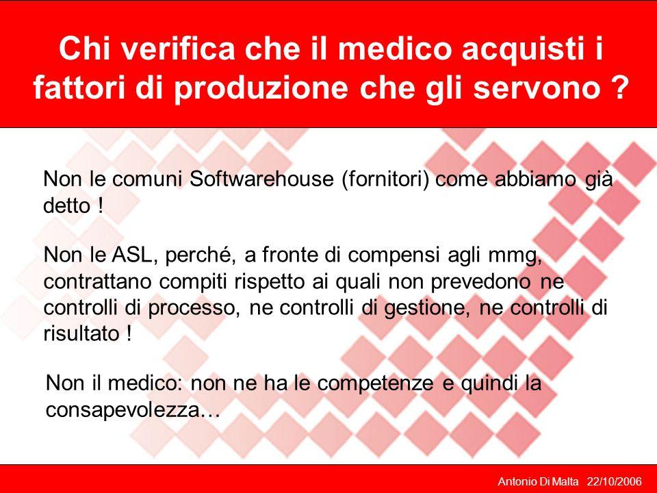 Antonio Di Malta 22/10/2006 Non le comuni Softwarehouse (fornitori) come abbiamo già detto .