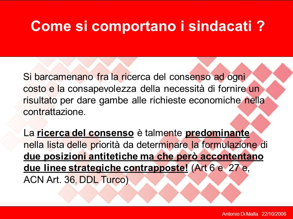 Antonio Di Malta 22/10/2006 Come si comportano i sindacati .