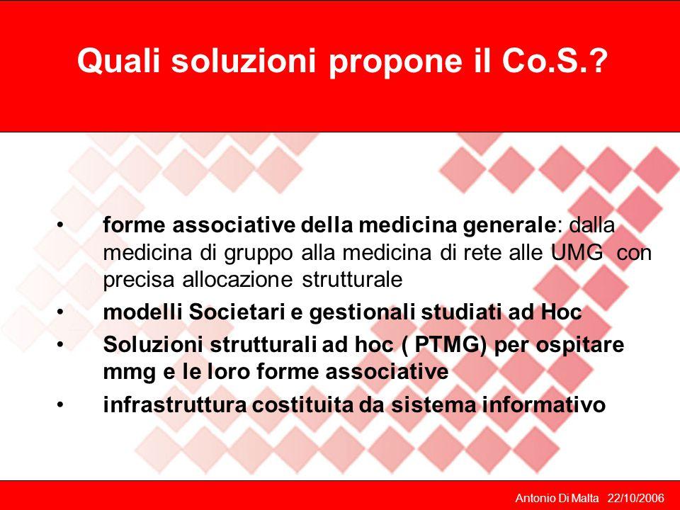 Antonio Di Malta 22/10/2006 Quali soluzioni propone il Co.S..