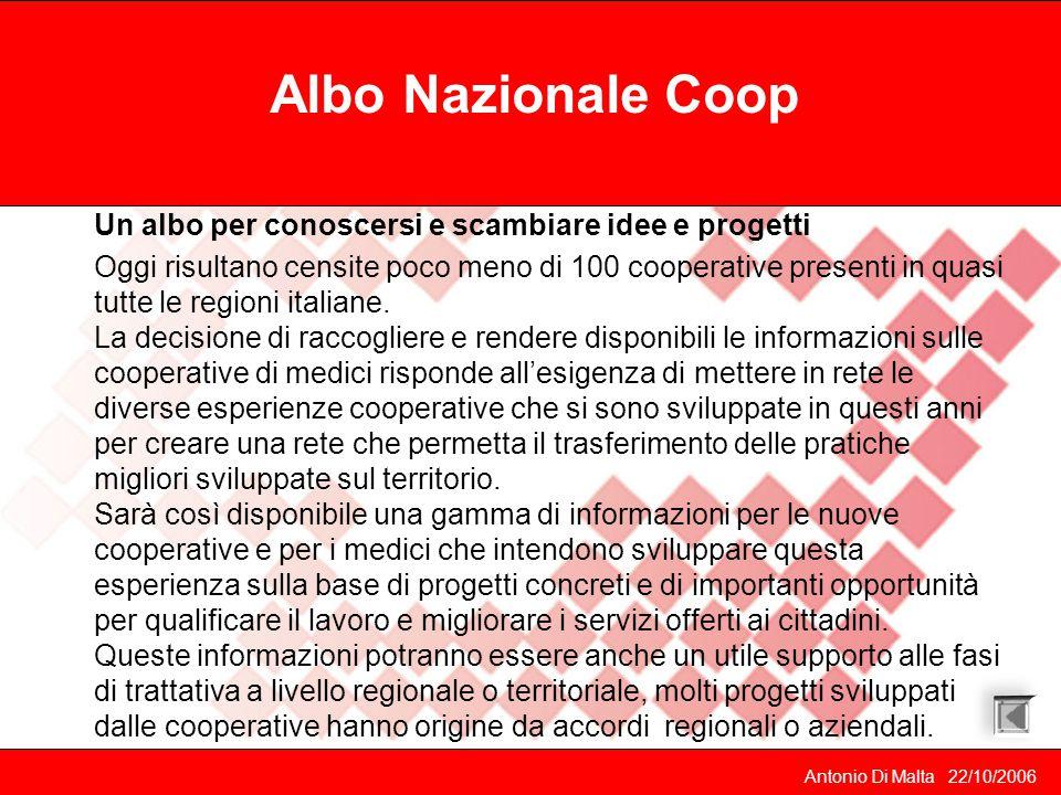 Antonio Di Malta 22/10/2006 Albo Nazionale Coop Un albo per conoscersi e scambiare idee e progetti Oggi risultano censite poco meno di 100 cooperative presenti in quasi tutte le regioni italiane.