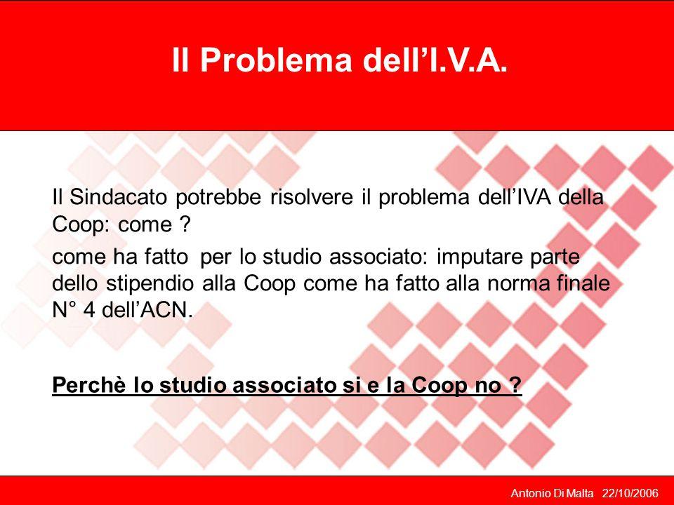 Antonio Di Malta 22/10/2006 Il Problema dell'I.V.A.