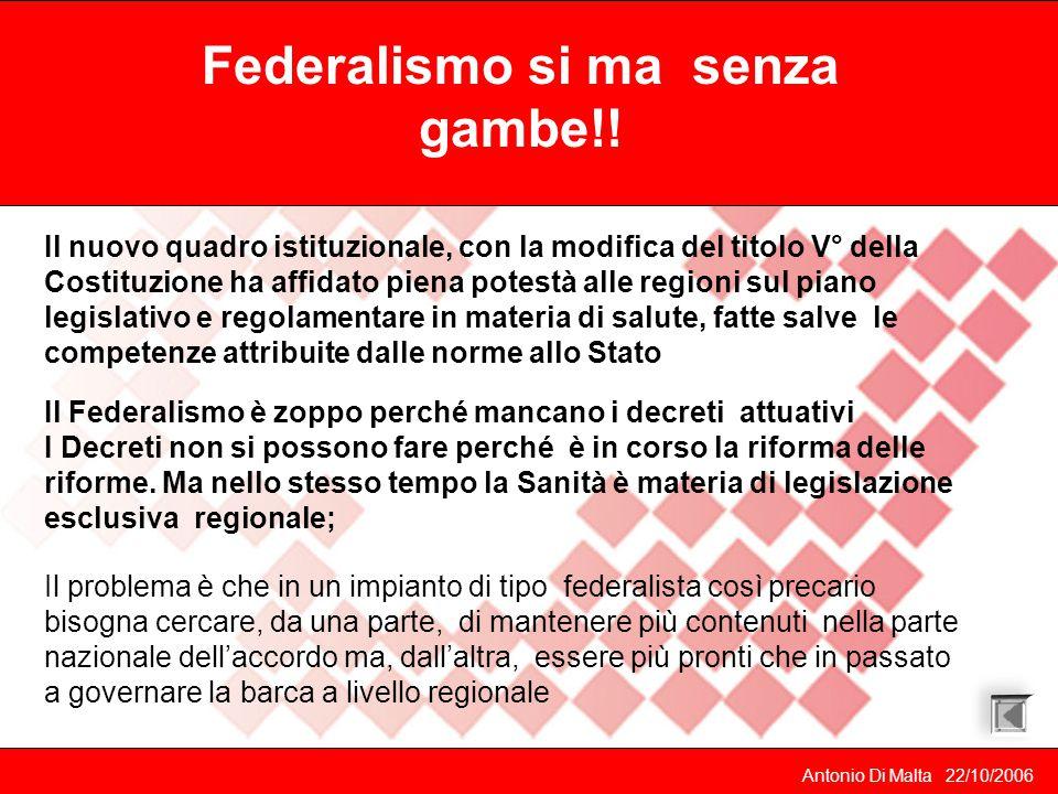 Antonio Di Malta 22/10/2006 le regioni, i governi e i politici dichiarano spesso la volontà di perseguire una riorganizzazione del versante territoriale del SSN.