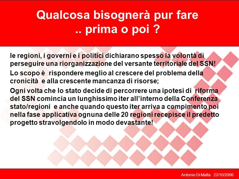 Antonio Di Malta 22/10/2006 Le Utap: delibera del luglio 2004: 250 milioni di euro per far partire obbligatoriamente una serie di presidi del territorio gestiti dai medici di famiglia attraverso una propria forma societaria.