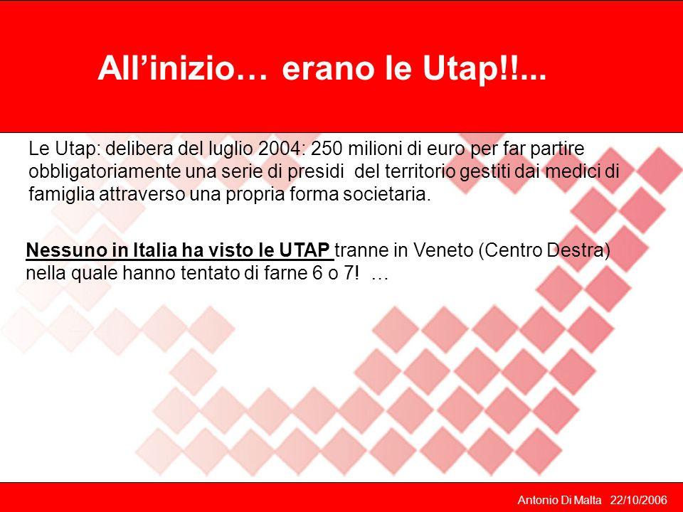 Antonio Di Malta 22/10/2006 Cade il governo di centro destra e le Utap vengono seppellite.