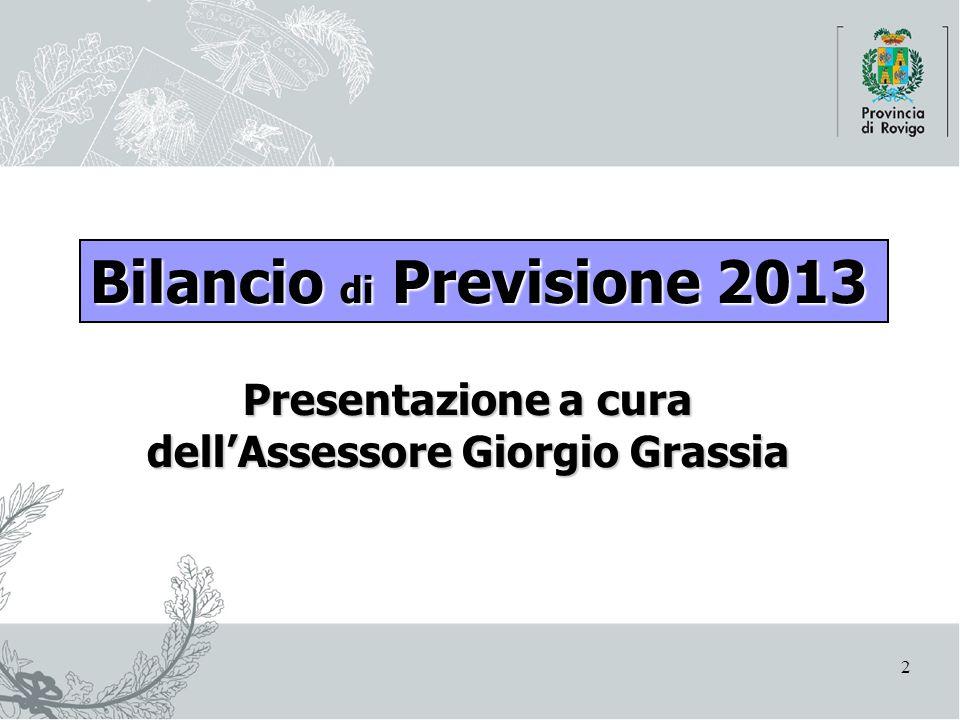 2 Presentazione a cura dell'Assessore Giorgio Grassia Bilancio di Previsione 2013