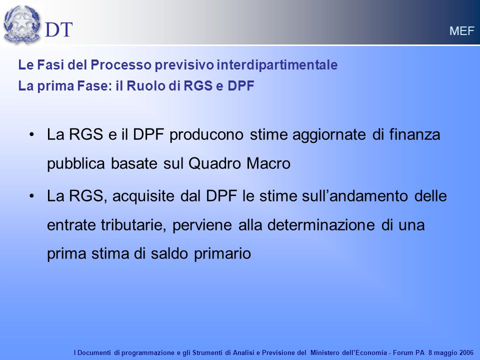 DT MEF La RGS e il DPF producono stime aggiornate di finanza pubblica basate sul Quadro Macro La RGS, acquisite dal DPF le stime sull'andamento delle entrate tributarie, perviene alla determinazione di una prima stima di saldo primario Le Fasi del Processo previsivo interdipartimentale La prima Fase: il Ruolo di RGS e DPF I Documenti di programmazione e gli Strumenti di Analisi e Previsione del Ministero dell'Economia - Forum PA 8 maggio 2006