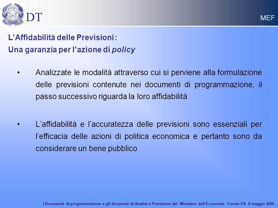 DT MEF Analizzate le modalità attraverso cui si perviene alla formulazione delle previsioni contenute nei documenti di programmazione, il passo succes